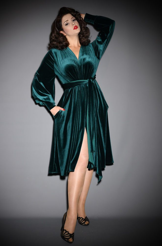 Green Velvet Claudia Dress - a draped jersey evening dress with sash waist & bishop sleeves. A signature piece by Alexandra King for Deadly is the Female.
