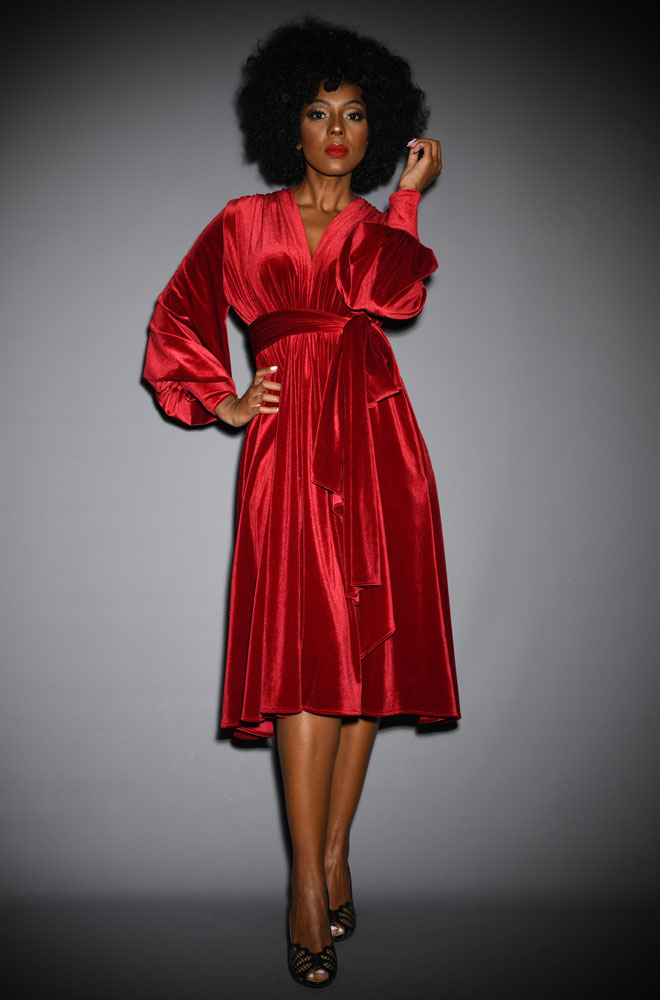 Red Velvet Claudia Dress - a draped jersey evening dress with sash waist & bishop sleeves. A signature piece by Alexandra King for Deadly is the Female.