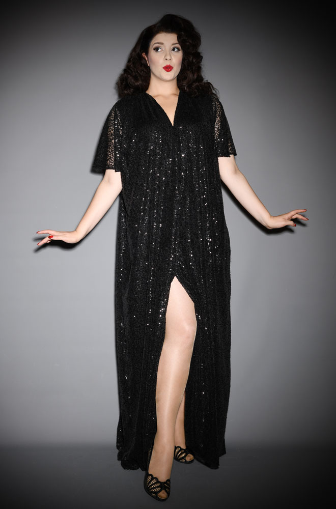 Black Sequin Claudia Gown - a draped sequin evening dress with sash waist & flutter sleeves. A signature piece by Alexandra King for Deadly is the Female.