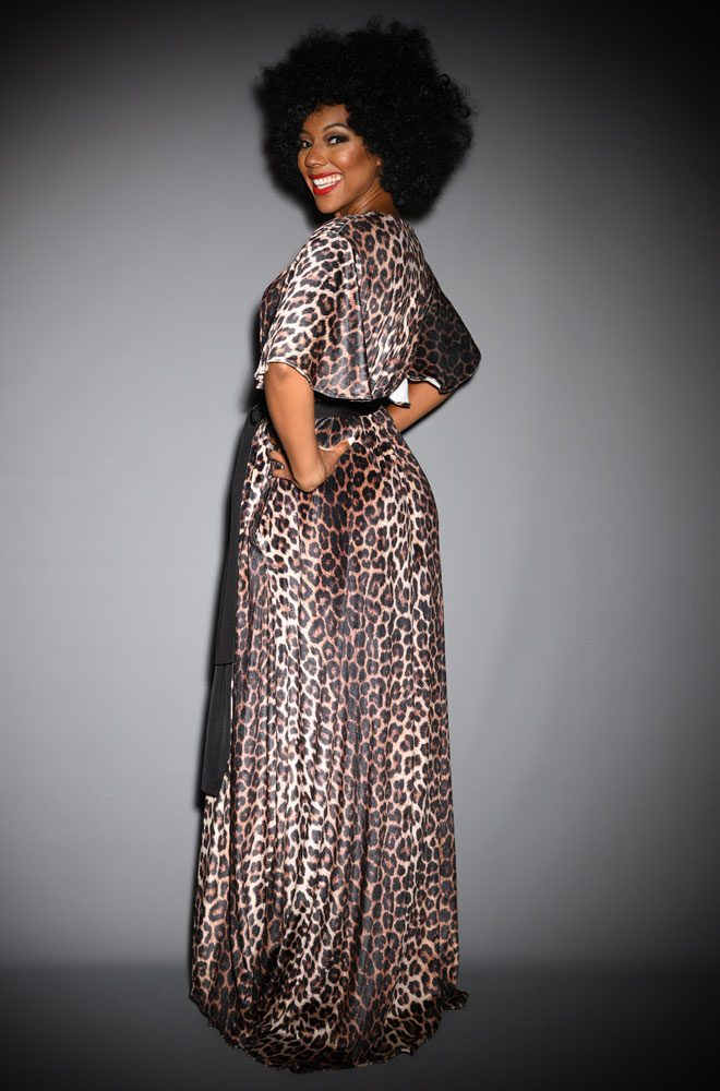 The Leopard Velvet Claudia Gown is a draped stretch velvet evening dress with black sash waist & flutter sleeves by Alexandra King for Deadly is the Female.