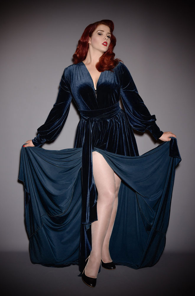 Navy Velvet Claudia Gown - a draped jersey evening dress with sash waist & bishop sleeves. A signature piece by Alexandra King for Deadly is the Female.