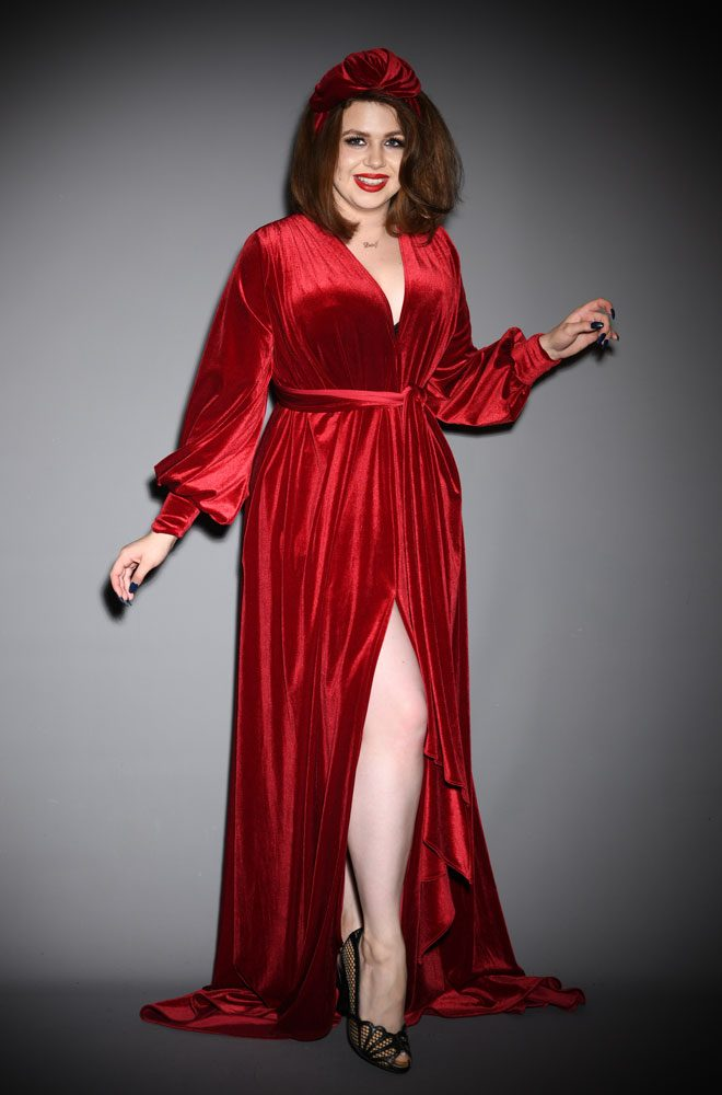 Red Velvet Claudia Gown - a draped jersey evening dress with sash waist & bishop sleeves. A signature piece by Alexandra King for Deadly is the Female.