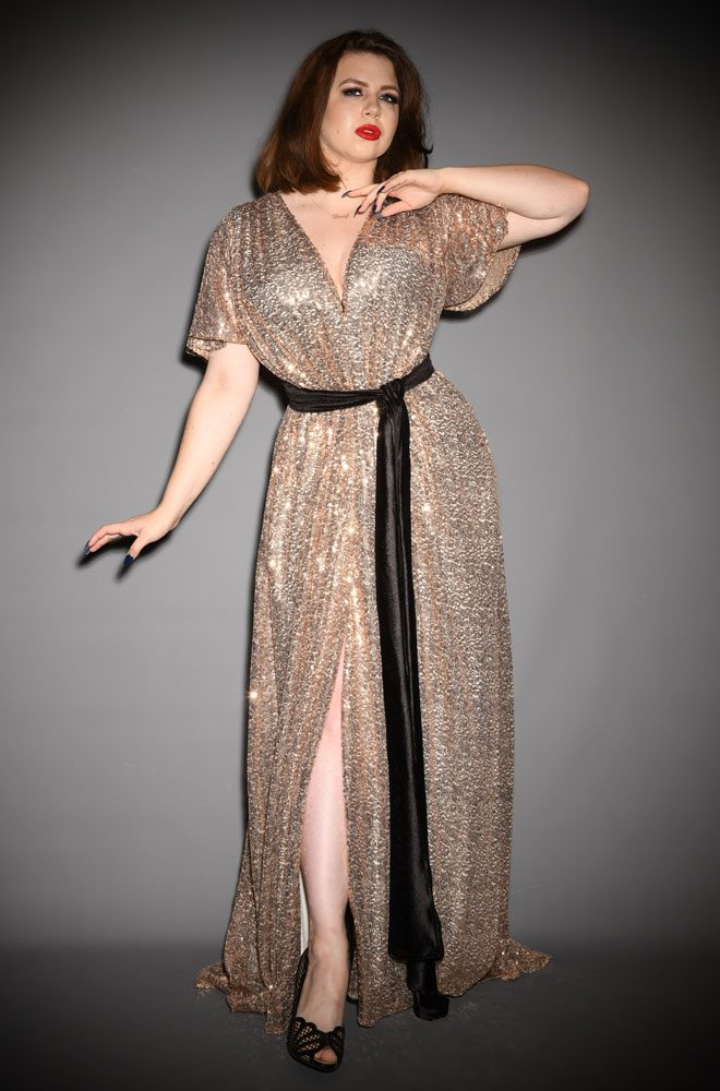 Champagne Sequin Claudia Gown - an evening dress with velvet sash waist & flutter sleeves. A signature piece by Alexandra King for Deadly is the Female.