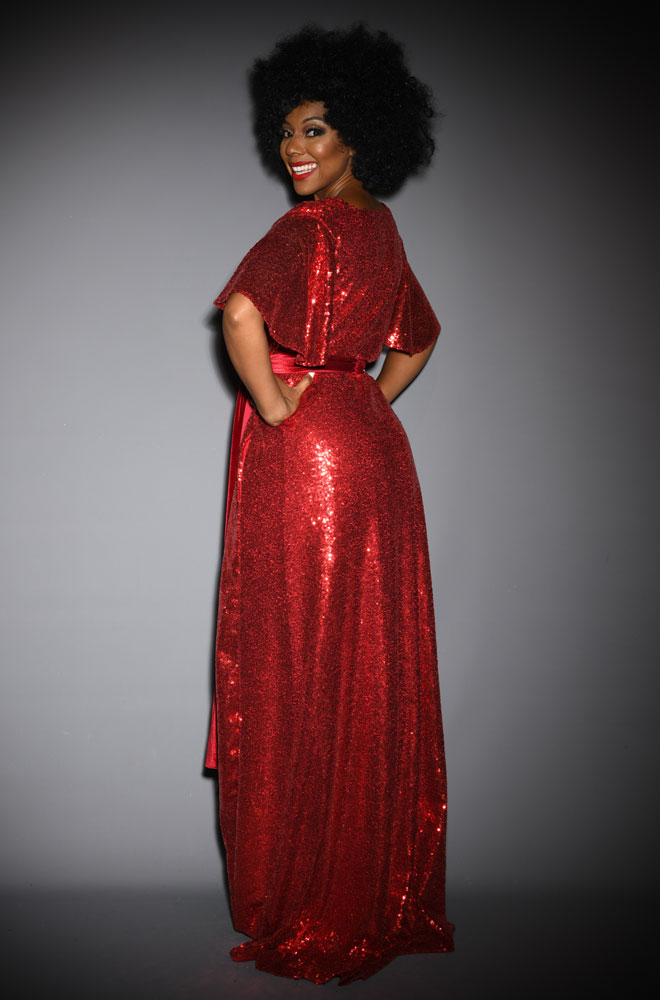 Red Sequin Claudia Gown - a sequin evening dress with velvet sash waist & flutter sleeves. A signature piece by Alexandra King for Deadly is the Female.