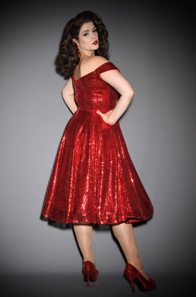 Sequin Scarlett Swing Dress - sparkle in this stunning vintage-inspired swing dress. A signature piece by Alexandra King for Deadly is the Female.