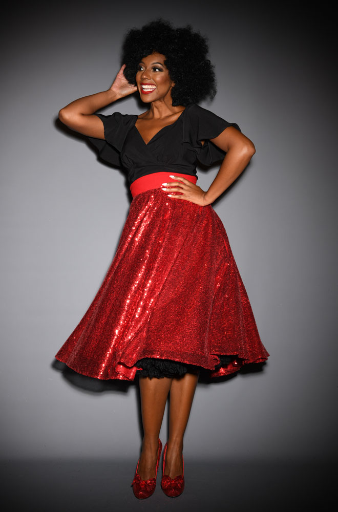 Red Sequin Julia Skirt. Tiny sequins glitter with every movement on this 50s swing skirt. A signature piece by Alexandra King for Deadly is the Female.