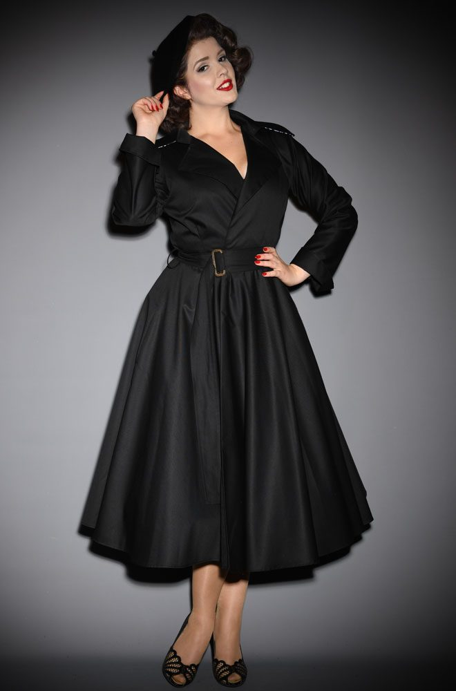 Black Alexandra Trench Coat - 40s style coat, perfect for Femme Fatales. A signature piece for the Alexandra King for Deadly is the Female Collection.