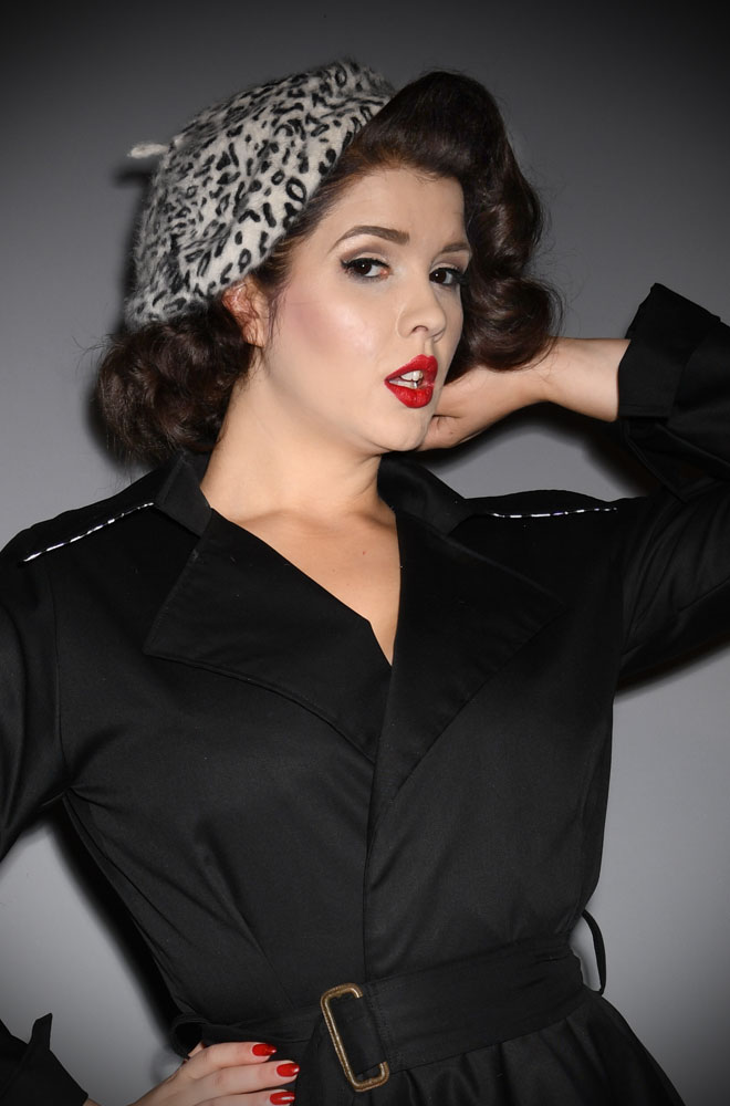 Snow Leopard Film Noir Beret. The perfect go-to for a bad hair day but also a stylish finishing touch to any outfit. Availbale now at DeadlyistheFemale.com