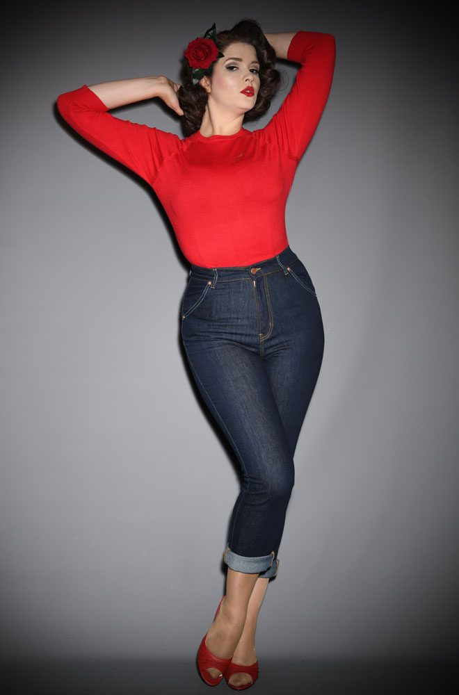 Lady K Loves Blue Classic Jeans - stretch denim with a high waist & slim leg for a timeless 50s rockabilly feel.
