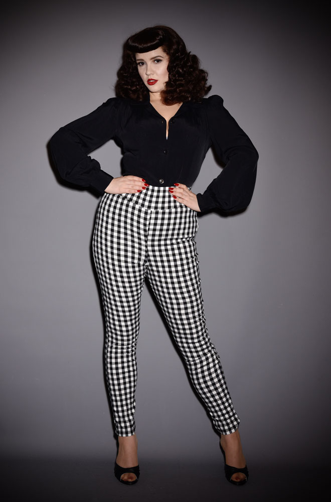 The Rizzo Gingham Trousers are effortlessly cool! These sassy cigarette pants are ideal to dress up or down! UK stockists of Unique Vintage.
