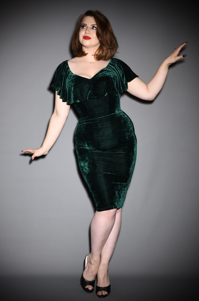 The Green Velvet Sophia Dress is a romantic vintage style pencil dress.