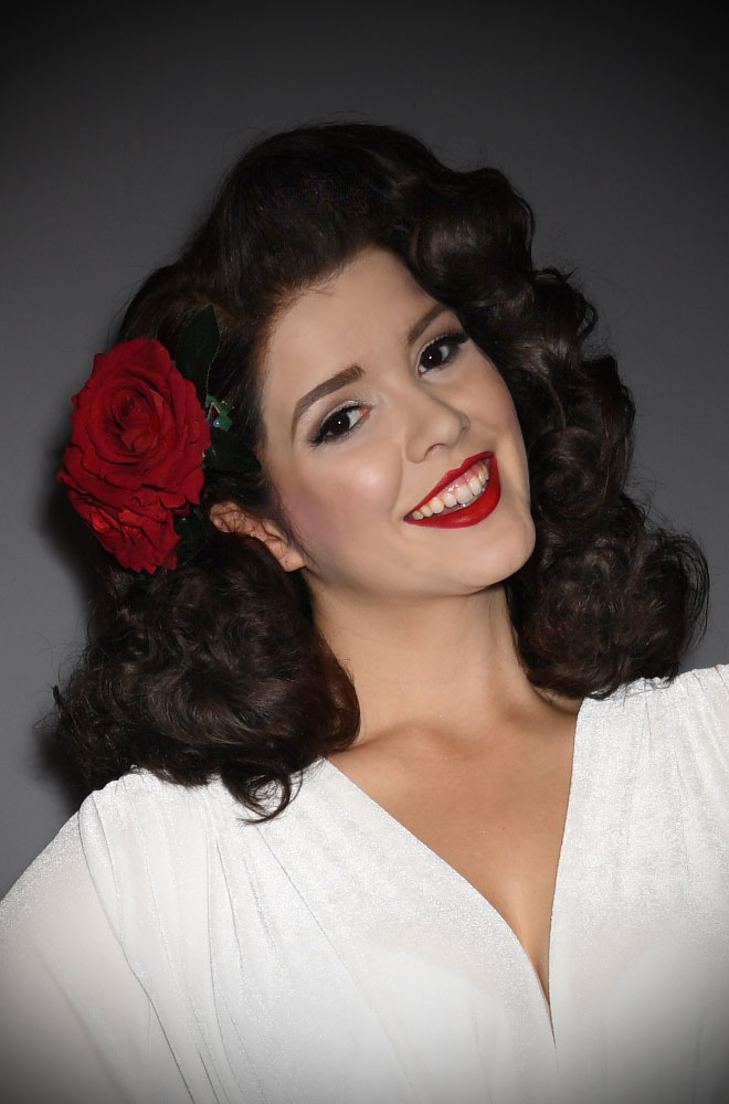 Red Double Rose Hair Flower - A classic deep red rose mounted on a hair clip with leaves. Perfect for bad girls, pinups & vintage lovers.