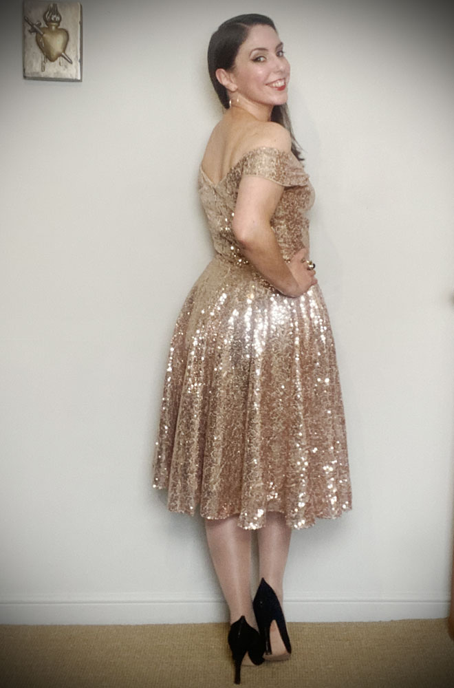 Champagne Sequin Scarlett Swing Dress. Sparkle in a vintage-inspired swing dress. By Alexandra King for Deadly is the Female.
