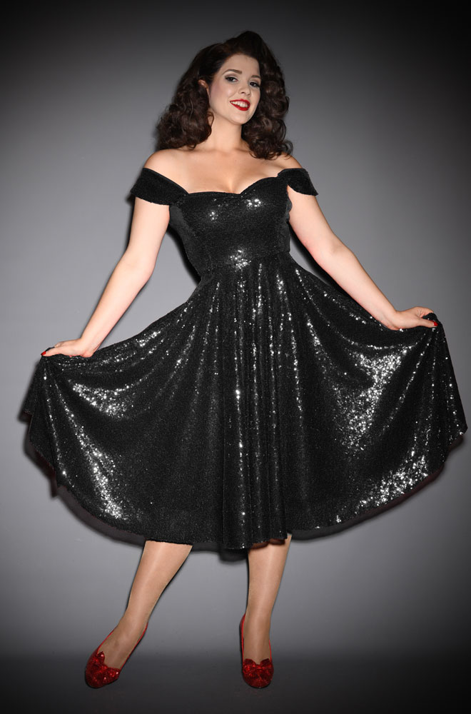 Black Sequin Scarlett Swing Dress - sparkle in this stunning vintage-inspired swing dress. A signature piece by Alexandra King for Deadly is the Female.