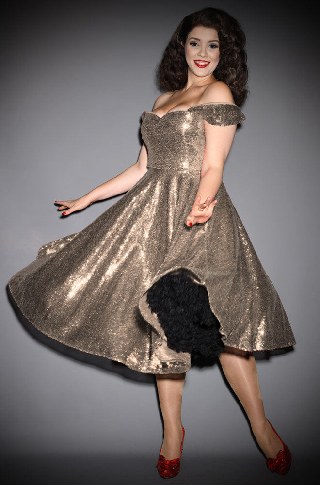 Champagne Sequin Scarlett Swing Dress - sparkle in this stunning vintage-inspired swing dress. A signature piece by Alexandra King for Deadly is the Female.