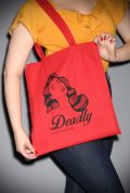 Deadly Tote Bag - a red cotton tote which is stylish & durable. Printed with an illustration of our very own Scarlett Luxe! Exclusive & Limited Edition.