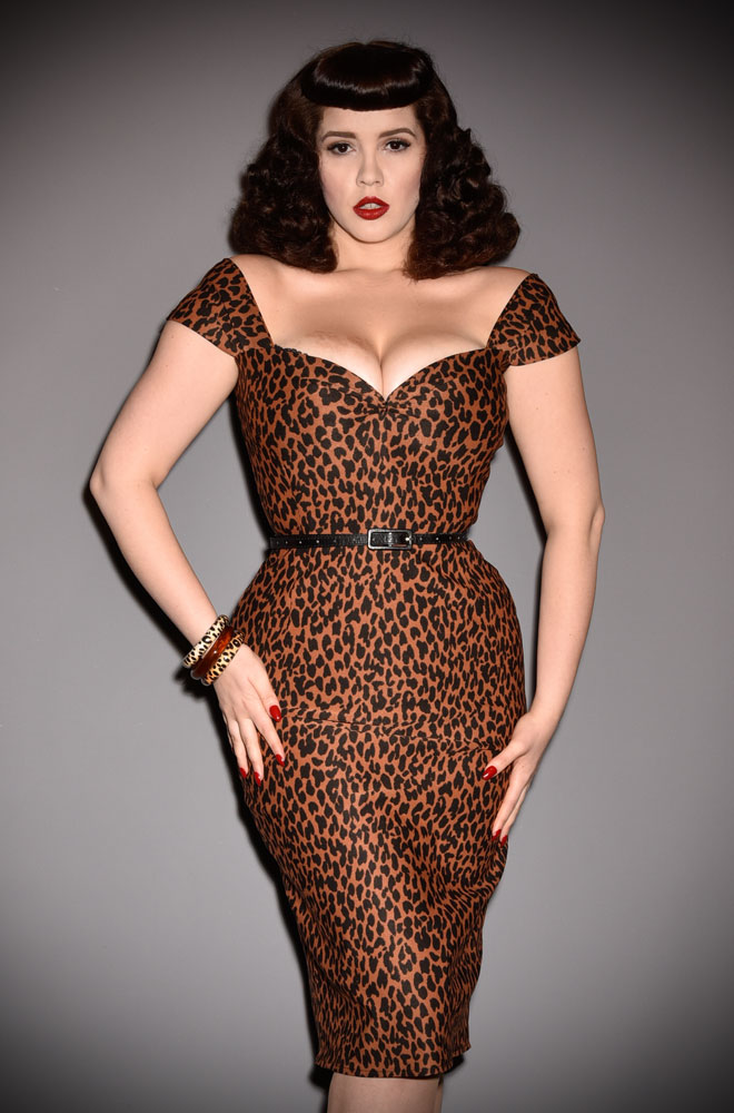 Kitty Kat Dress - a timeless yet sassy wiggle dress in sultry leopard print. A signature piece for the Alexandra King for Deadly is the Female Collection.