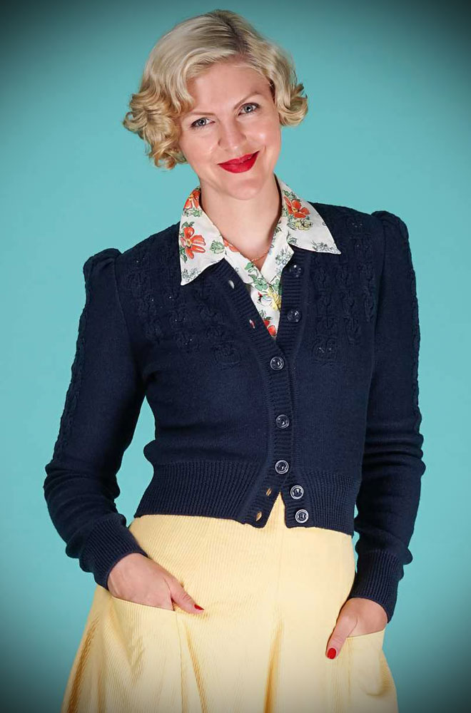 Navy Peggy Sue Cardigan by Emmy Design is a beautiful wardrobe essential. Deadly is the Female are UK Stockists of Emmy Design.