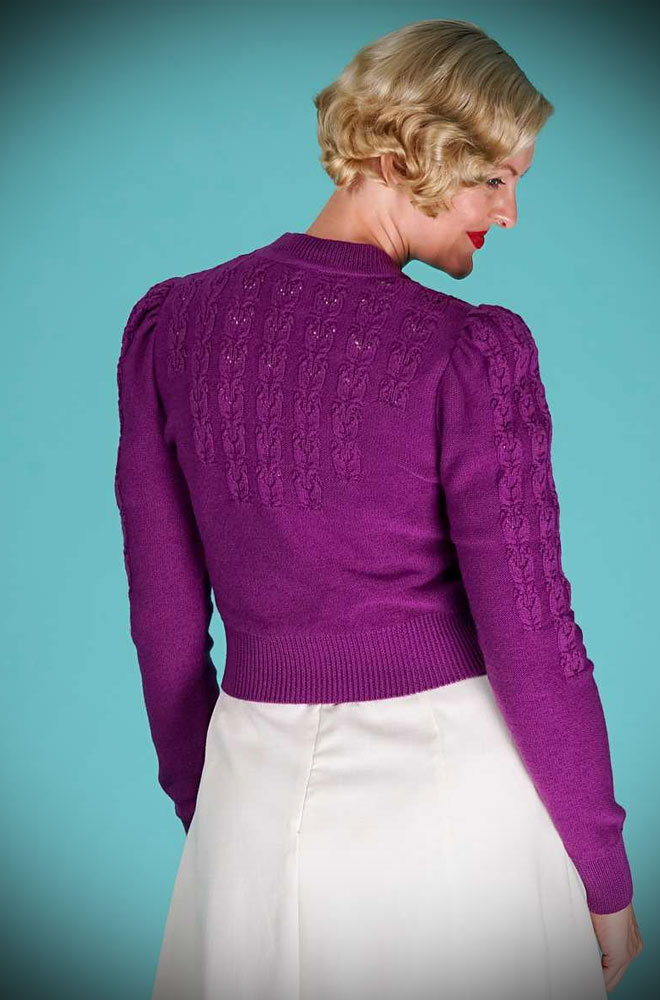 Purple Peggy Sue Cardigan by Emmy Design is a beautiful wardrobe essential. Deadly is the Female are UK Stockists of Emmy Design.