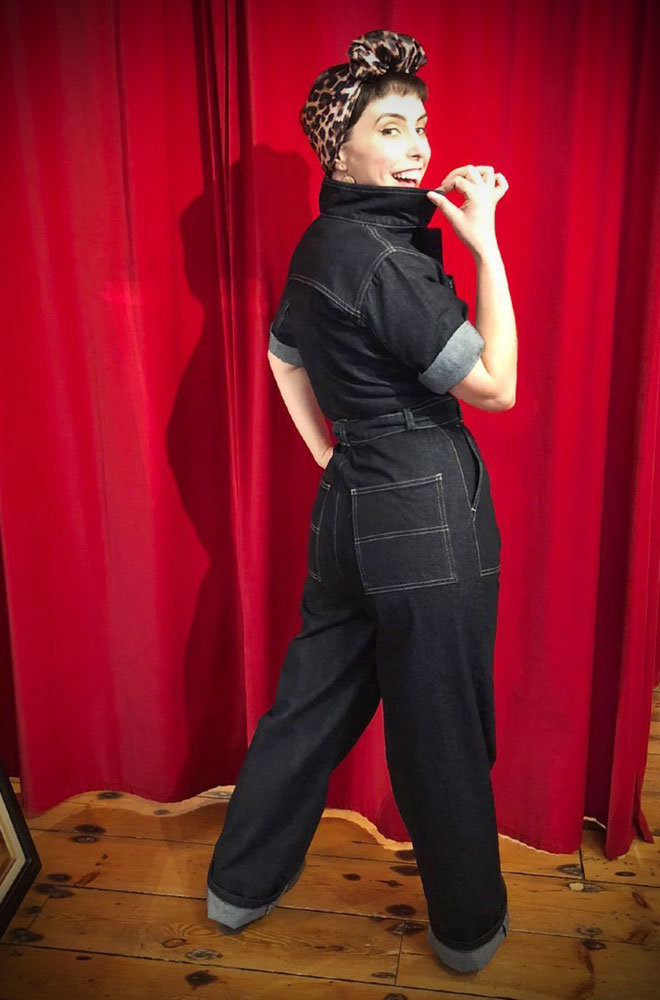 The1940s Grease Monkey Jumpsuit is fabulously saucy while incredibly wearable! These sassy denim overalls by Freddies of Pinewood are available now.