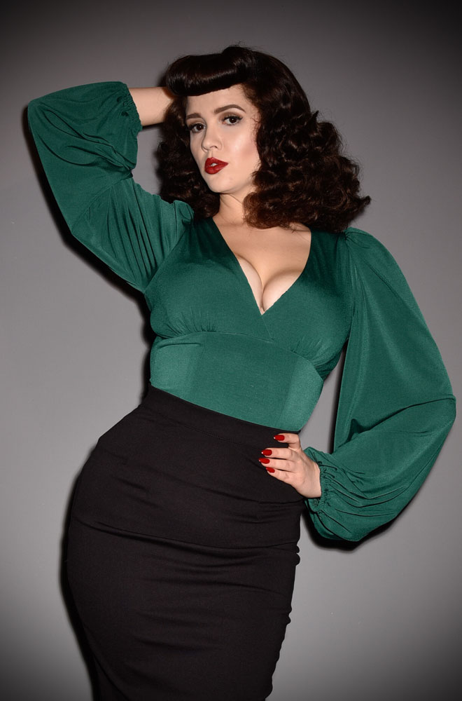 Green Bishop Sleeve Blouse, for vamps who can't live without a little drama! Deadly is the Female are official UK & European La Femme En Noir stockists
