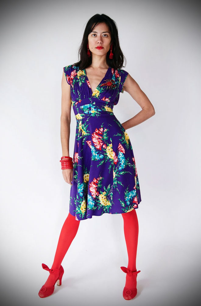 Bold Bouquet 1940s Dress - While the cut of the dress is classic, the floral print is fresh & cheerful. We are official UK stockists of Trashy Diva.
