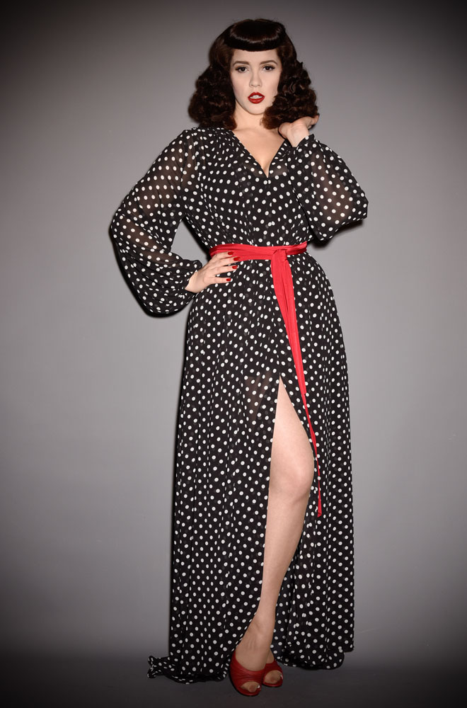 Black Polka Dot Claudia Maxi Dress, a 40s inspired dress in monochrome spotted georgette. A signature piece for the Alexandra King for Deadly is the Female.