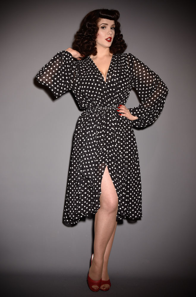 Black Polka Dot Claudia Dress, a 40s inspired dress in monochrome spotted georgette. A signature piece for the Alexandra King for Deadly is the Female.