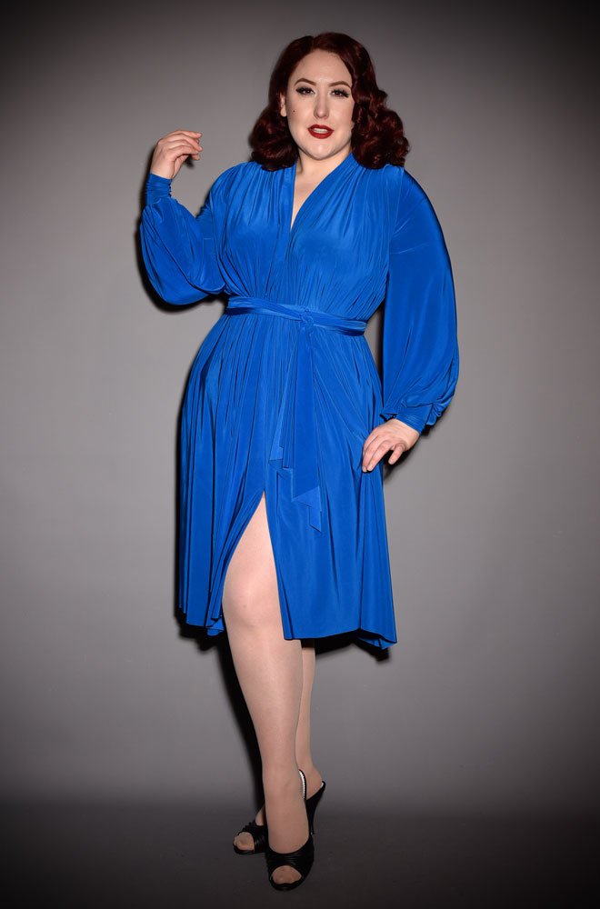 The Royal Blue Claudia Dress is a draped jersey dress with sash waist & bishop sleeves. A signature piece by Alexandra King for Deadly is the Female.