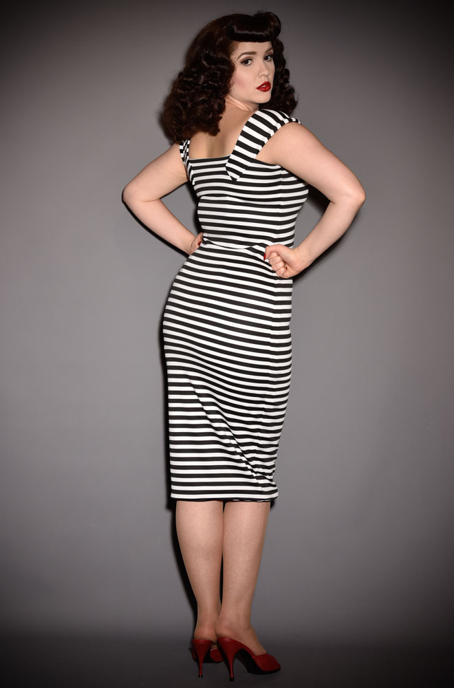 The Jailbird Dress is a timeless yet sassy wiggle dress in monochrome stripes. A signature piece for the Alexandra King for Deadly is the Female Collection.