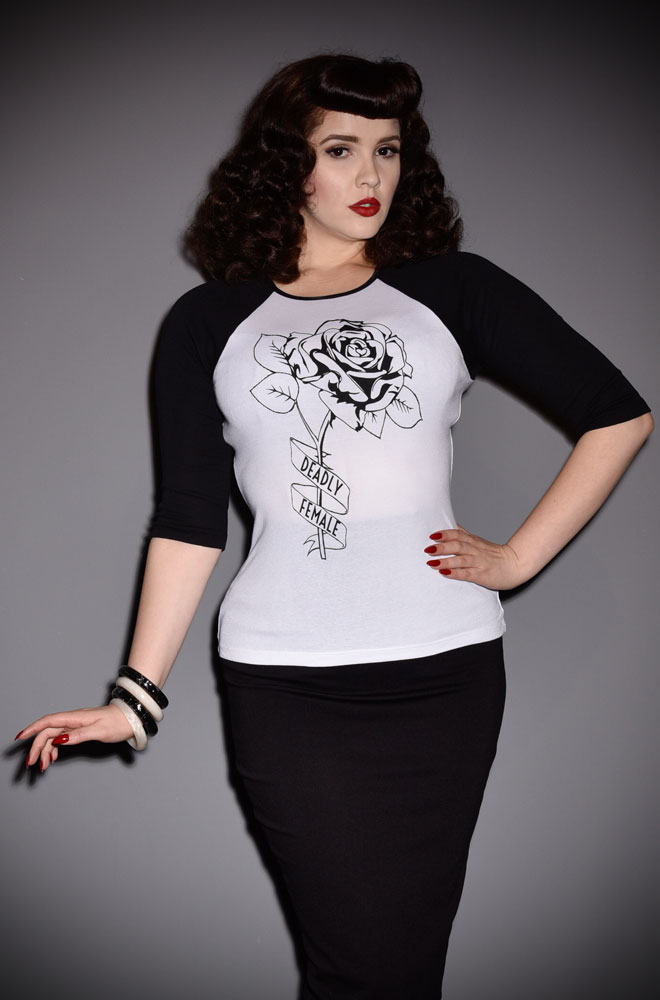 Introducing the Deadly Rose Raglan T-Shirt. Need to let someone know you are a Deadly Female?! This is the top for you! Exclusive to Deadly is the Female.