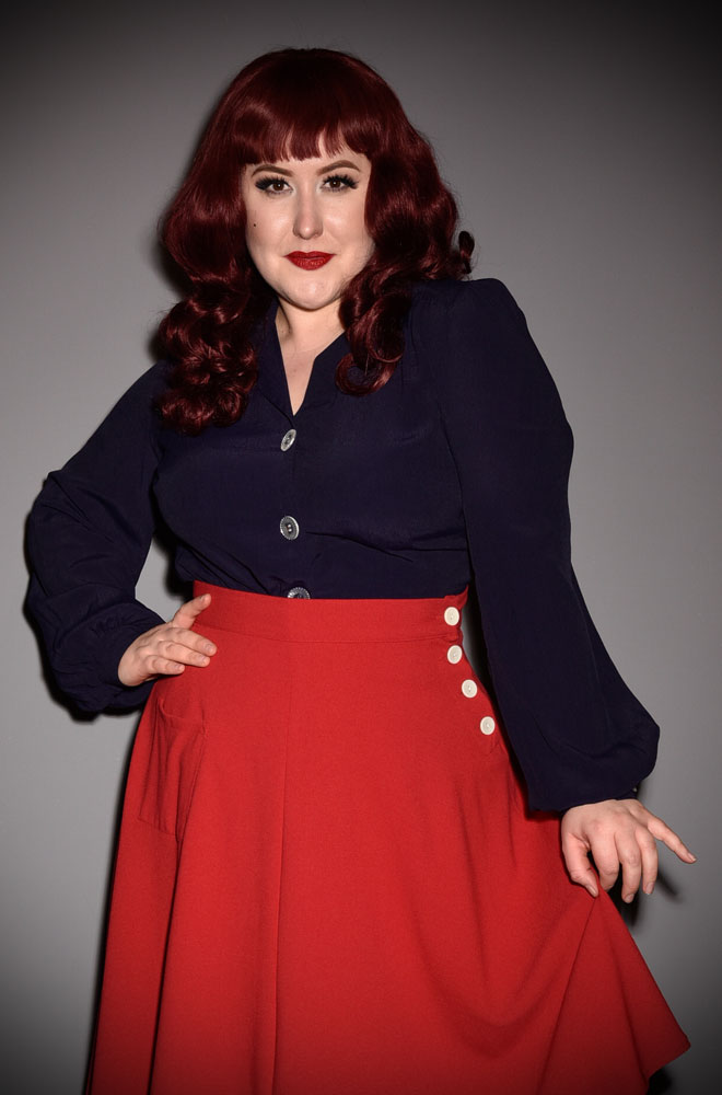 Navy 40s Blouse - with demure neckline, shoulder & back yokes & bishop sleeves. The neckline is faithful to the original & is surprisingly sexy