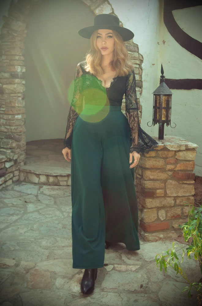 The Dark Green Widow Palazzo Pants are elegant wide leg trousers. Deadly is the Female are official UK & European stockists of La Femme En Noir.