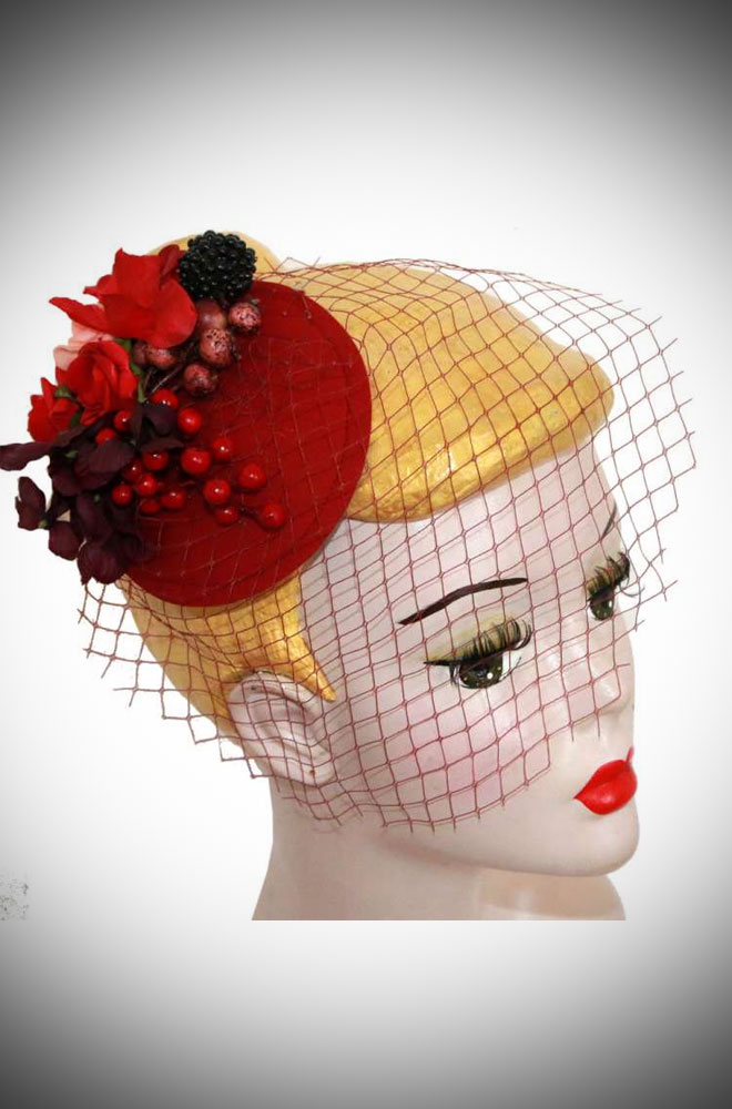 Camille Red Rose Fascinator