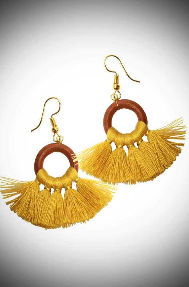 Introducing the Yellow Fringe Earrings! These vintage-inspired earrings are bright and cheerful! Available now at DeadlyistheFemale.com
