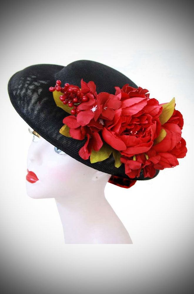 The Julia Floral Hat is adorned with beautiful red flowers and berries. Ideal for weddings. Effortless Vintage style in an instant!