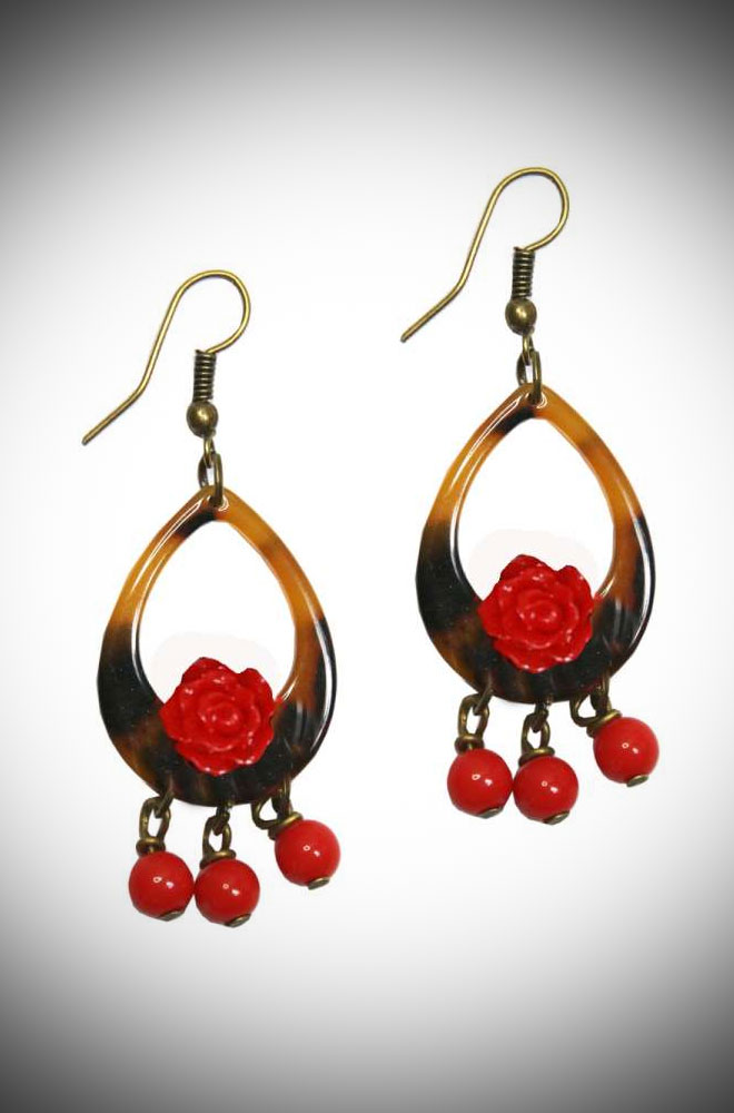 Introducing the Lorelei Rose Earrings! These tortoiseshell resin teardrop hoops also feature red roses and beads. Available now at DeadlyistheFemale.com
