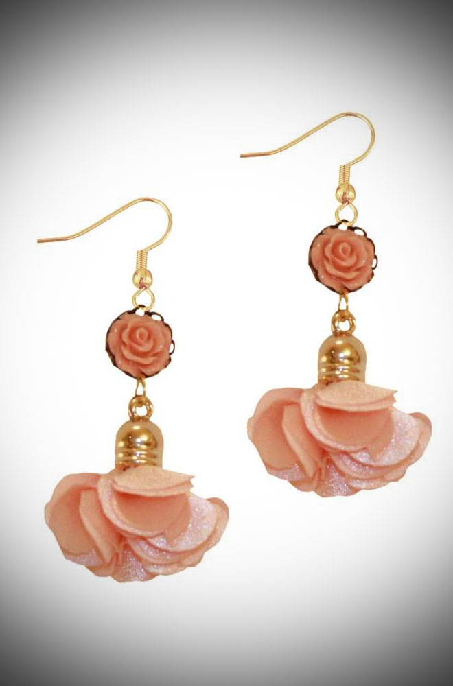 Introducing the PomPom Rose Earrings! These vintage-inspired earrings are romantic and whimsical! Available now at DeadlyistheFemale.com