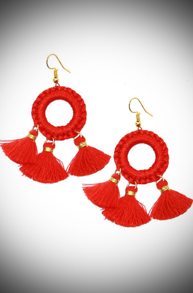 Introducing the Red Tassel Earrings! These vintage-inspired earrings are bright and cheerful! Available now at DeadlyistheFemale.com