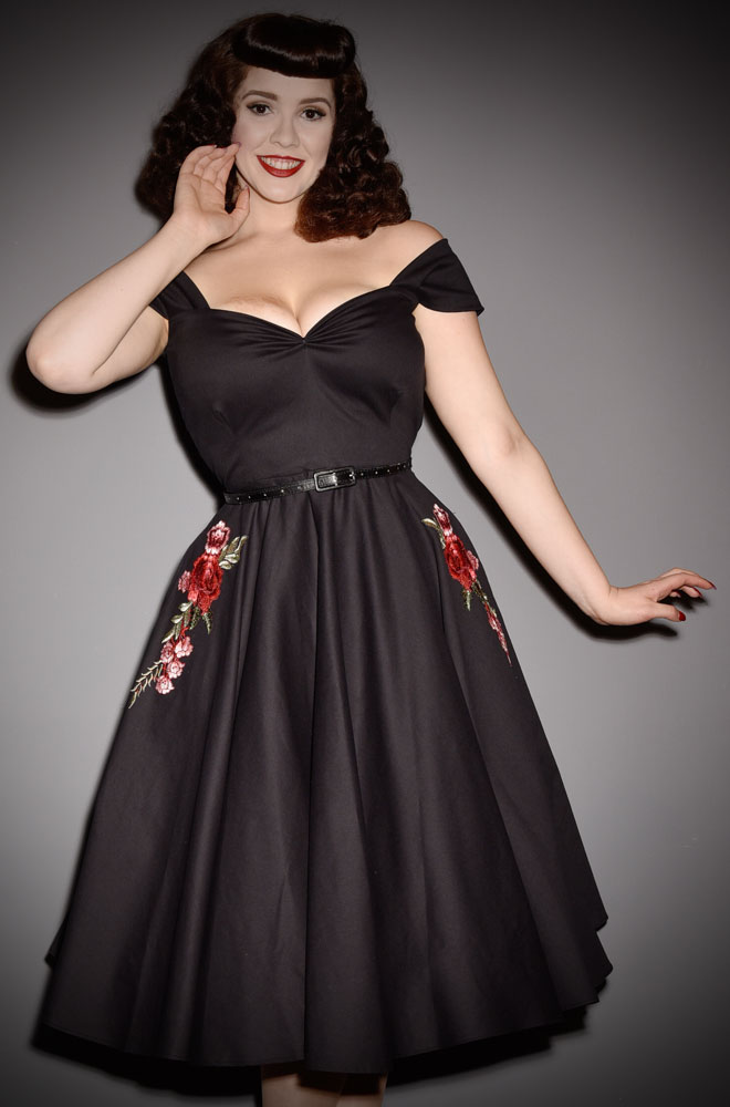 Organic Cotten Embroidered Rose Scarlett Dress - a timeless yet sassy swing dress by Alexandra King for Deadly is the Female Collection.