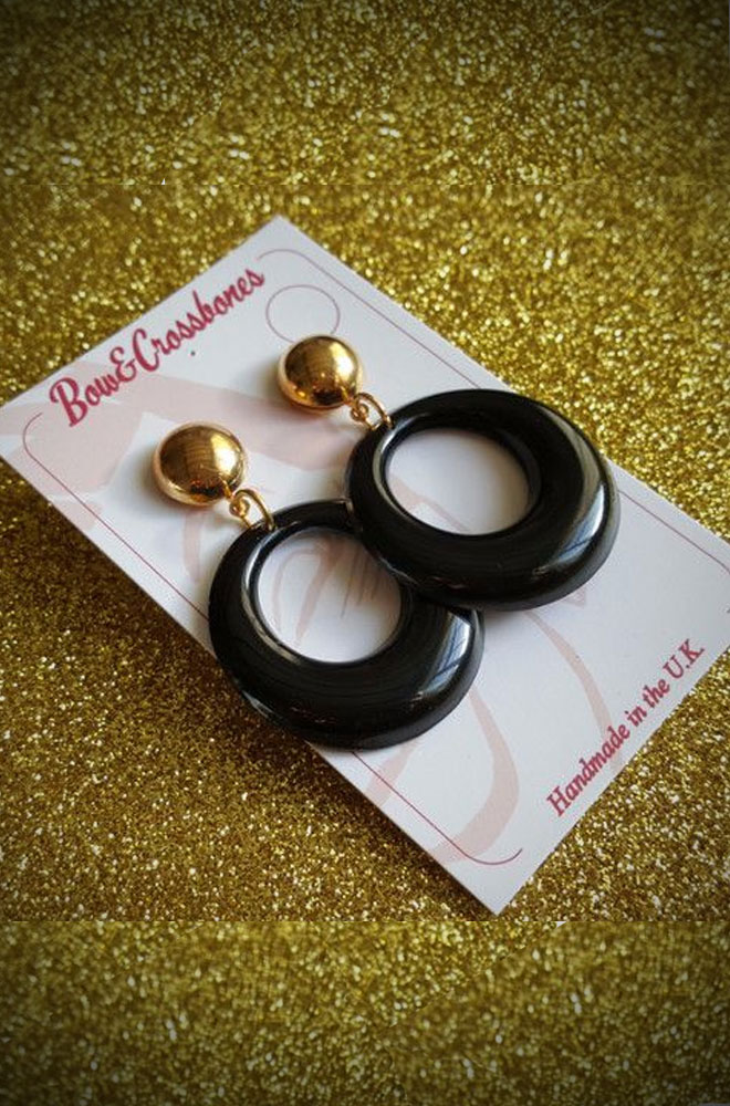 Black Sparkle Amelia Earrings