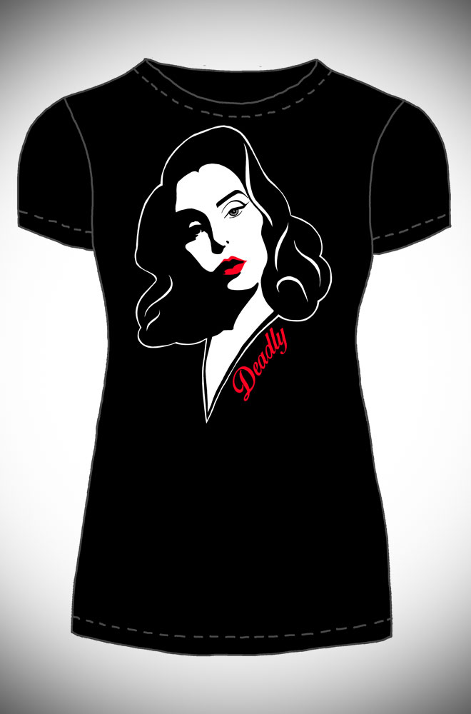 This sassy Claudia T-shirt features an illustration of Deadly's boss lady herself in pulp fiction, femme fatale style. Exclusive to Deadly is the Female.