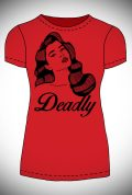 This sassy Scarlett T-shirt features an illustration of our very own Scarlett Luxe. This was drawn exclusively for Deadly by owner Claudia!