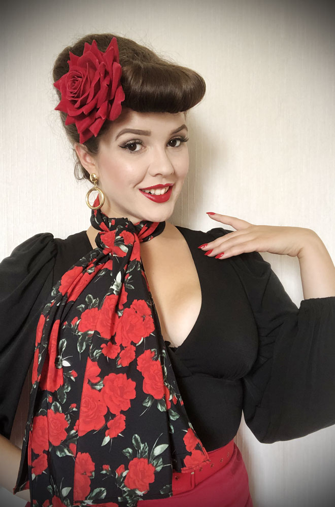 Black Rose Hair Scarf - a large chiffon scarf in leopard print. We LOVE a good hair scarf! They go with just about everything for effortless vintage style.