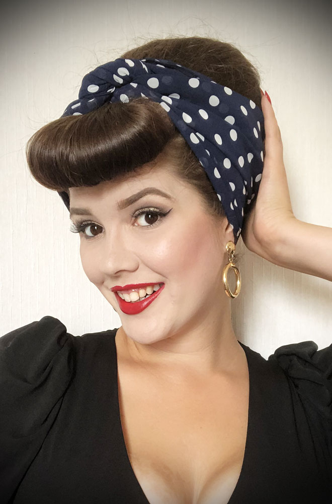 Navy Polka Hair Scarf - a large chiffon scarf in navy & white. We LOVE a good hair scarf! They go with just about everything for effortless vintage style.