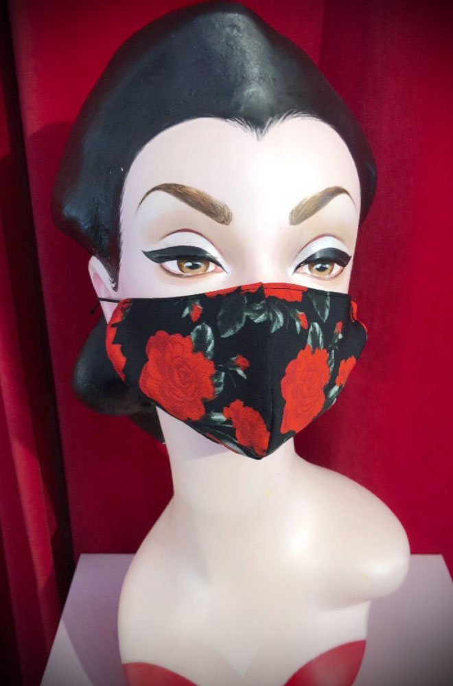 The Black Rose Mask is stylish but also a great reminder to keep your hands away from your face. Handmade in Somerset. Not suitable for medical use.