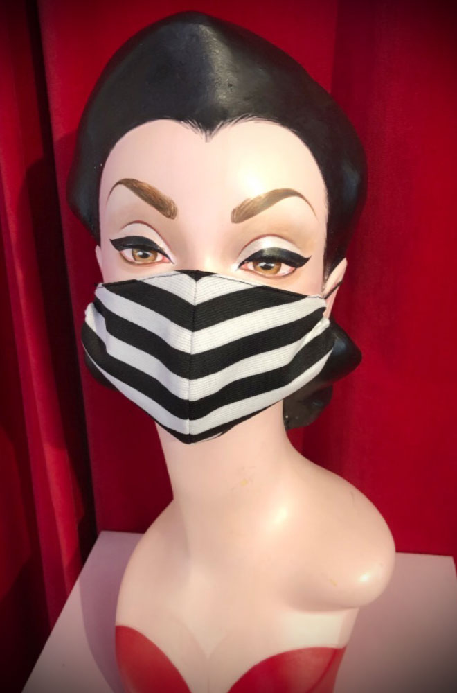 The Striped Mask is stylish but also a great reminder to keep your hands away from your face. Handmade in Somerset. Not suitable for medical use.