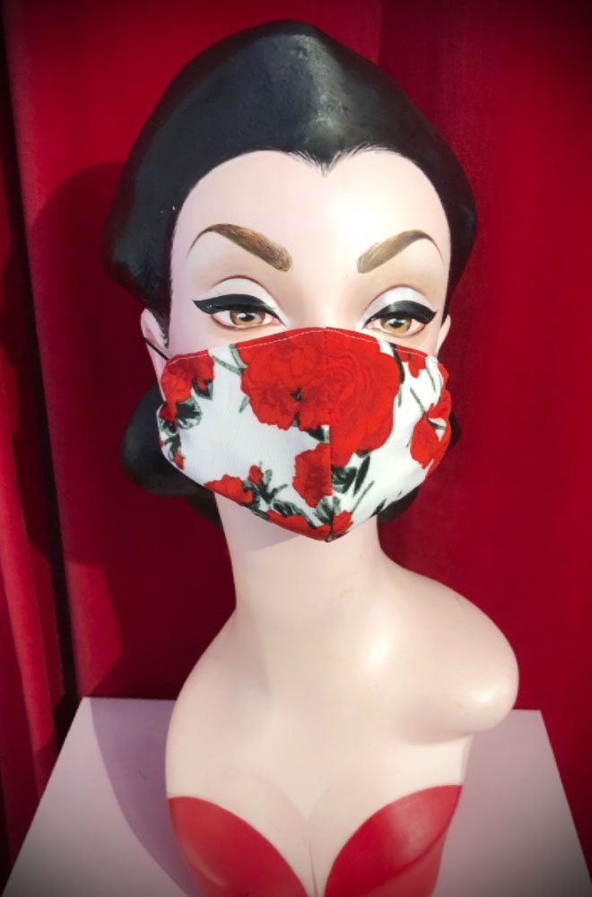 The White Rose Mask is stylish but also a great reminder to keep your hands away from your face. Handmade in Somerset. Not suitable for medical use.