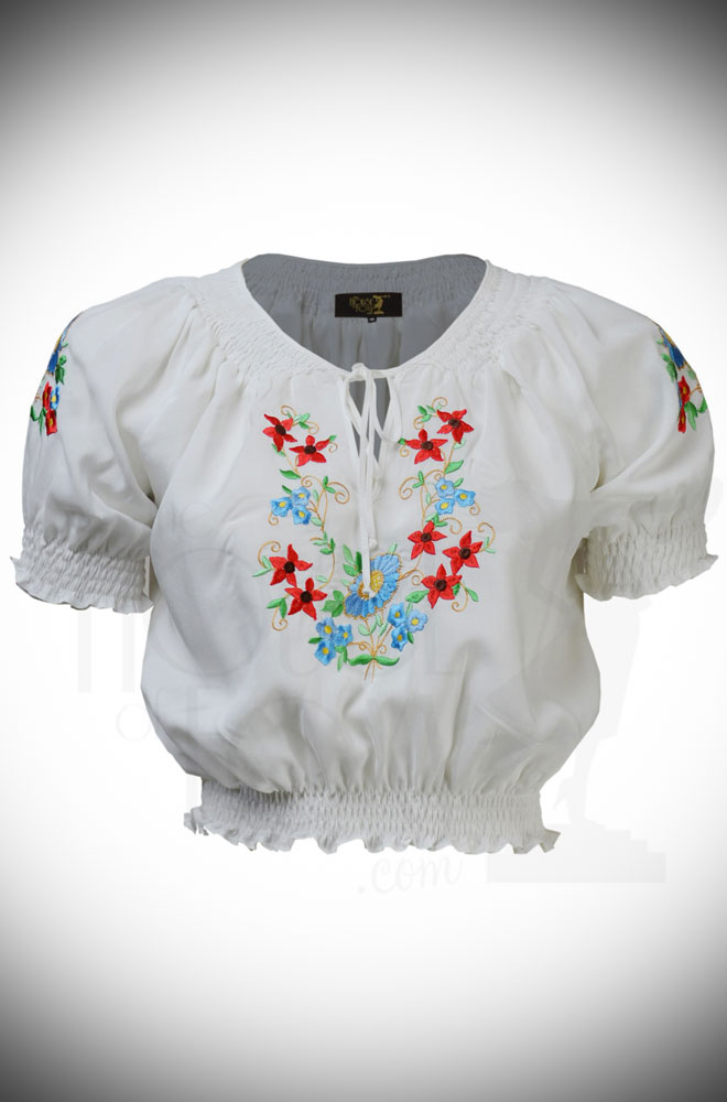 The Vintage Style White Peasant Blouse is a fantastic summer blouse. Features include a cropped length, shirred neckline & stunning floral embroidery