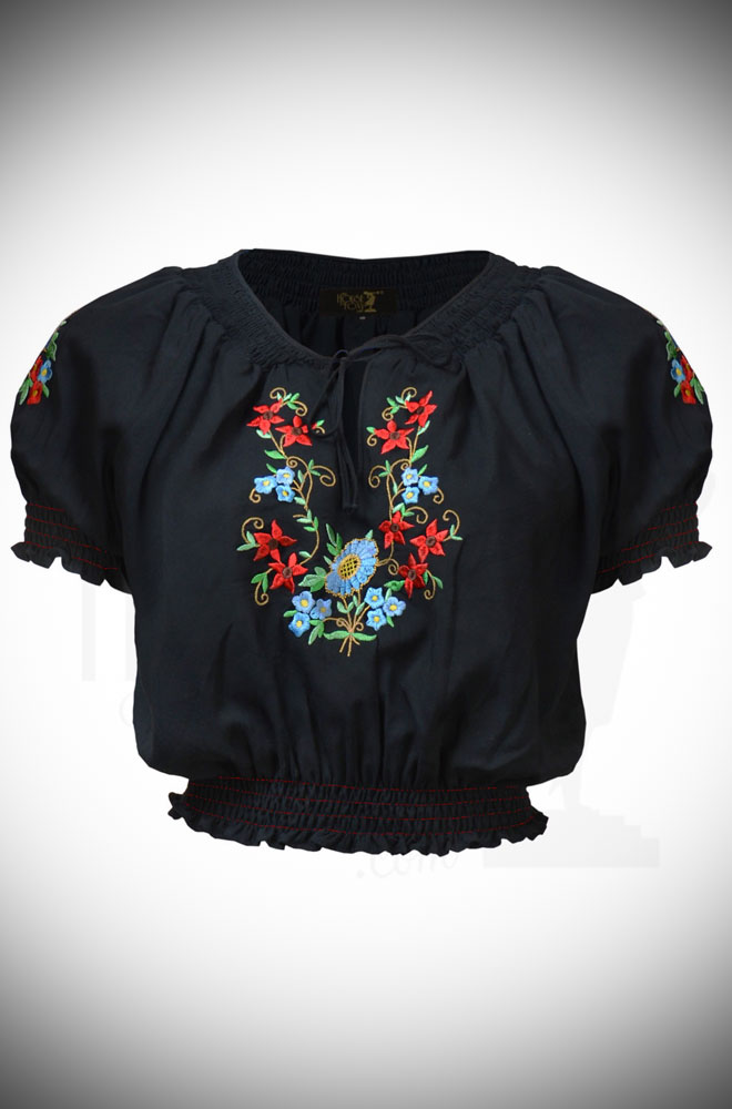 The Vintage Style Black Peasant Blouse is a fantastic summer blouse. Features include a cropped length, shirred neckline & stunning floral embroidery